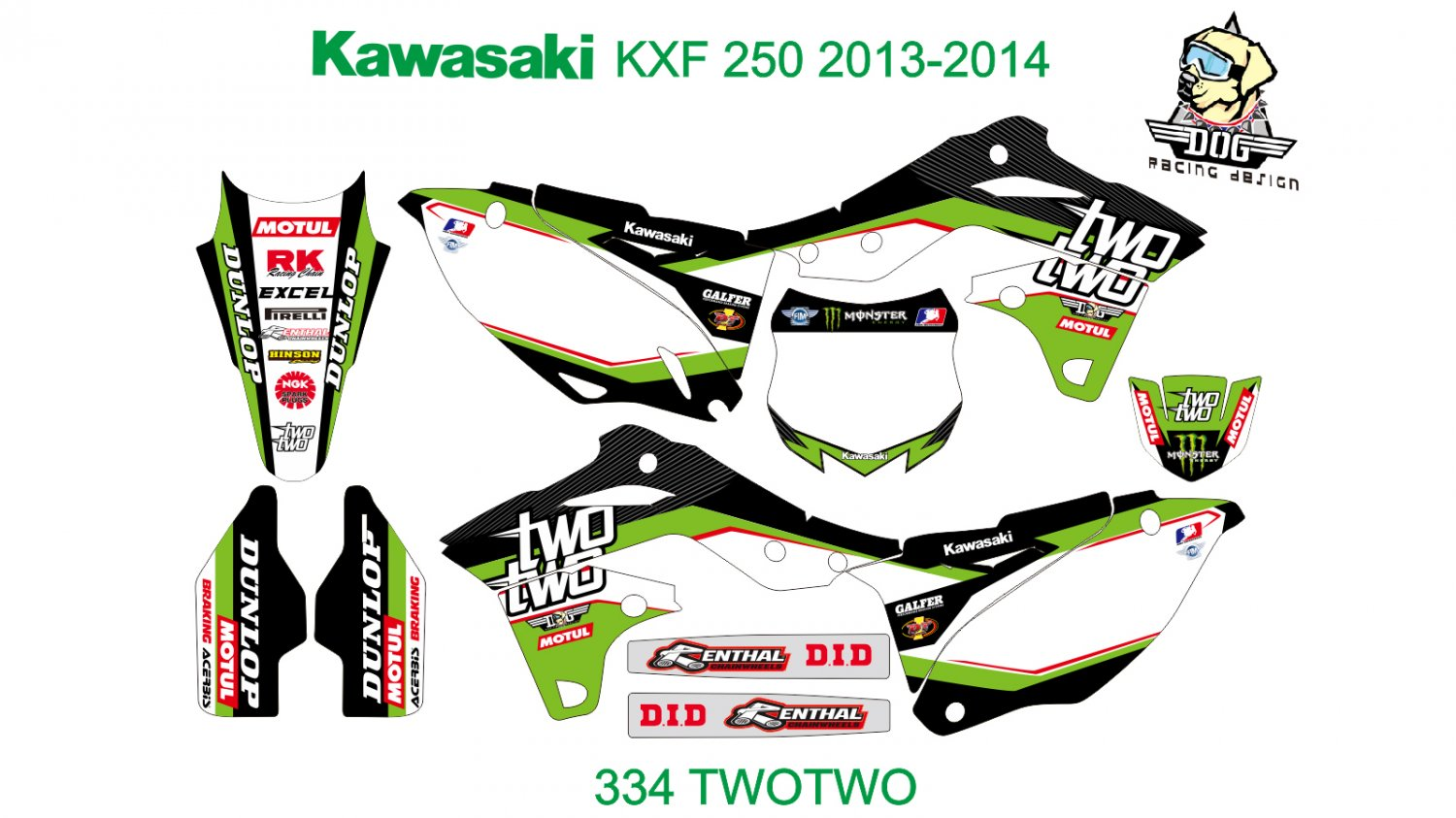 KAWASAKI KXF 250 2013-2014 GRAPHIC DECAL KIT CODE.334