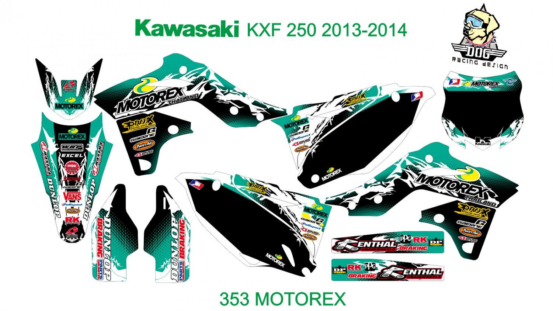 KAWASAKI KXF 250 2013-2014 GRAPHIC DECAL KIT CODE.353