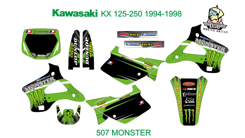 KAWASAKI KX 125-250 1994-1998 GRAPHIC DECAL KIT CODE.507