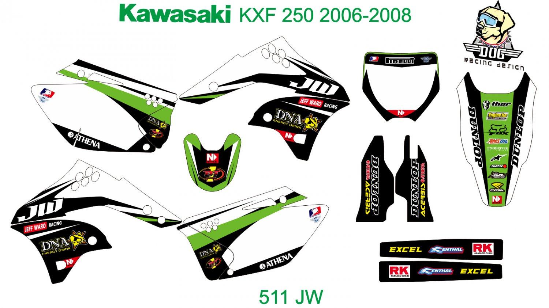 KAWASAKI KXF 250 2006-2008 GRAPHIC DECAL KIT CODE.511