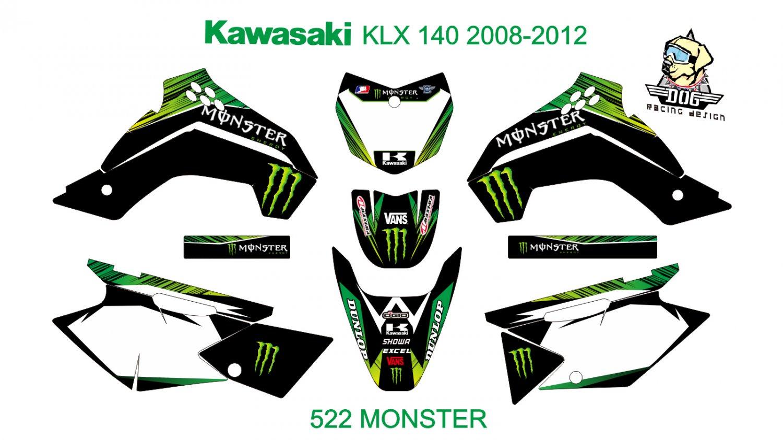 KAWASAKI KLX 140 2008-2012 GRAPHIC DECAL KIT CODE.522