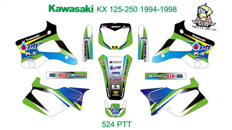 KAWASAKI KX 125-250 1994-1998 GRAPHIC DECAL KIT CODE.524