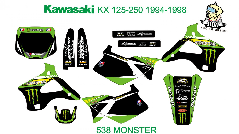 KAWASAKI KX 125-250 1994-1998 GRAPHIC DECAL KIT CODE.538