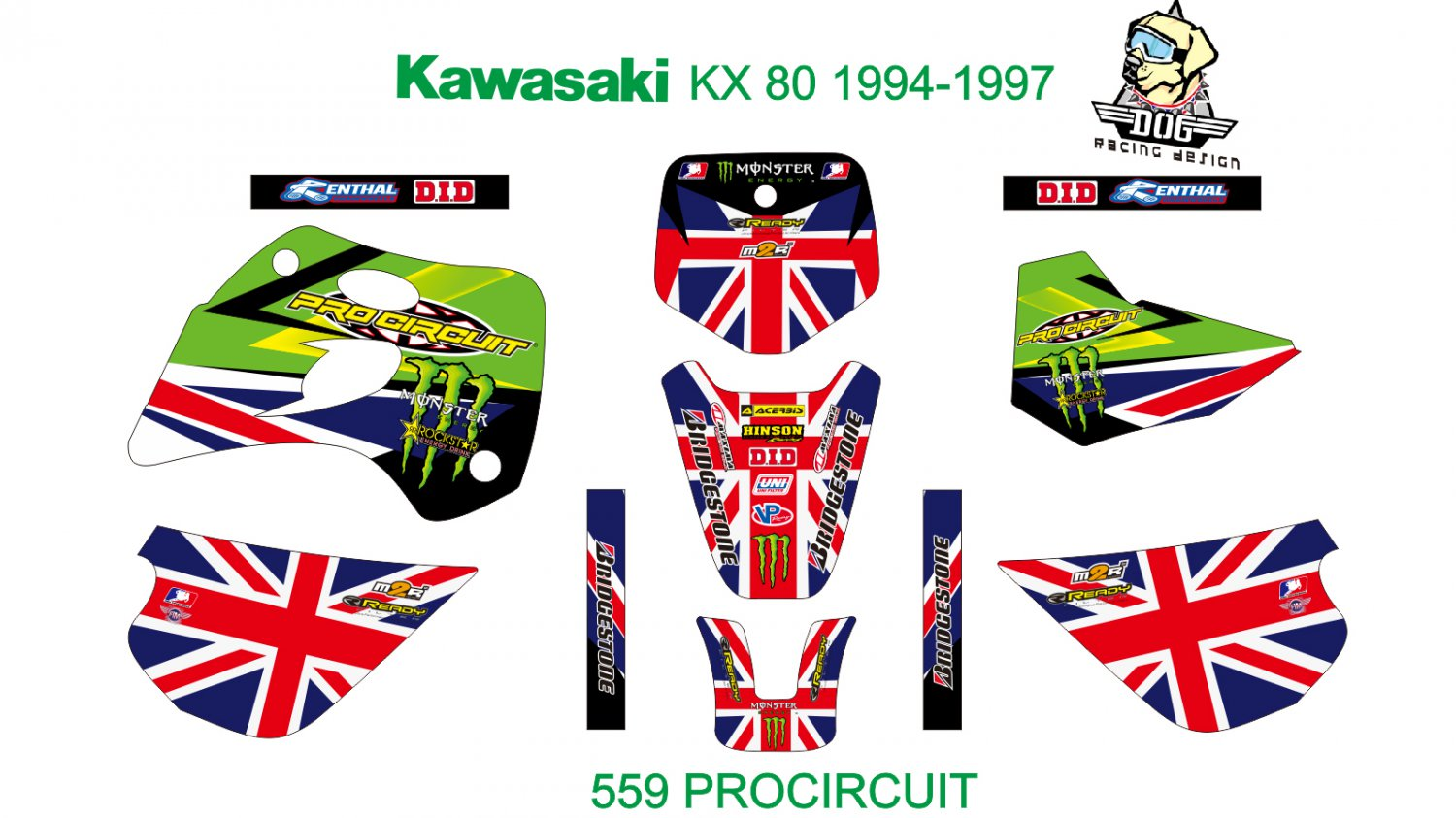 KAWASAKI KX 80 1994-1997 GRAPHIC DECAL KIT CODE.559