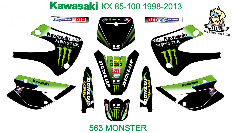 KAWASAKI KX 85-100 1998-2013 GRAPHIC DECAL KIT CODE.563