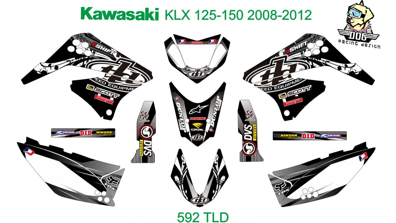 KAWASAKI KLX 125-150 2008-2012 GRAPHIC DECAL KIT CODE.592
