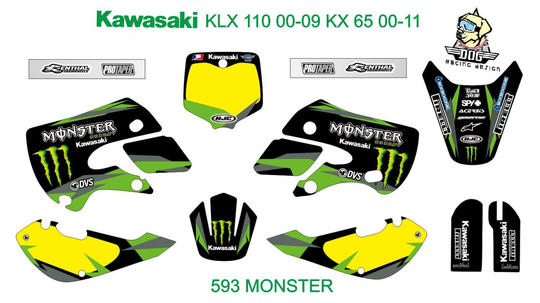 KAWASAKI KLX 110 2000-2009 KX 65 2000-2011 GRAPHIC DECAL KIT CODE.593