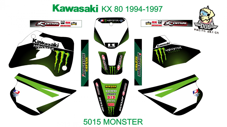 KAWASAKI KX 80 1994-1997 GRAPHIC DECAL KIT CODE.5015