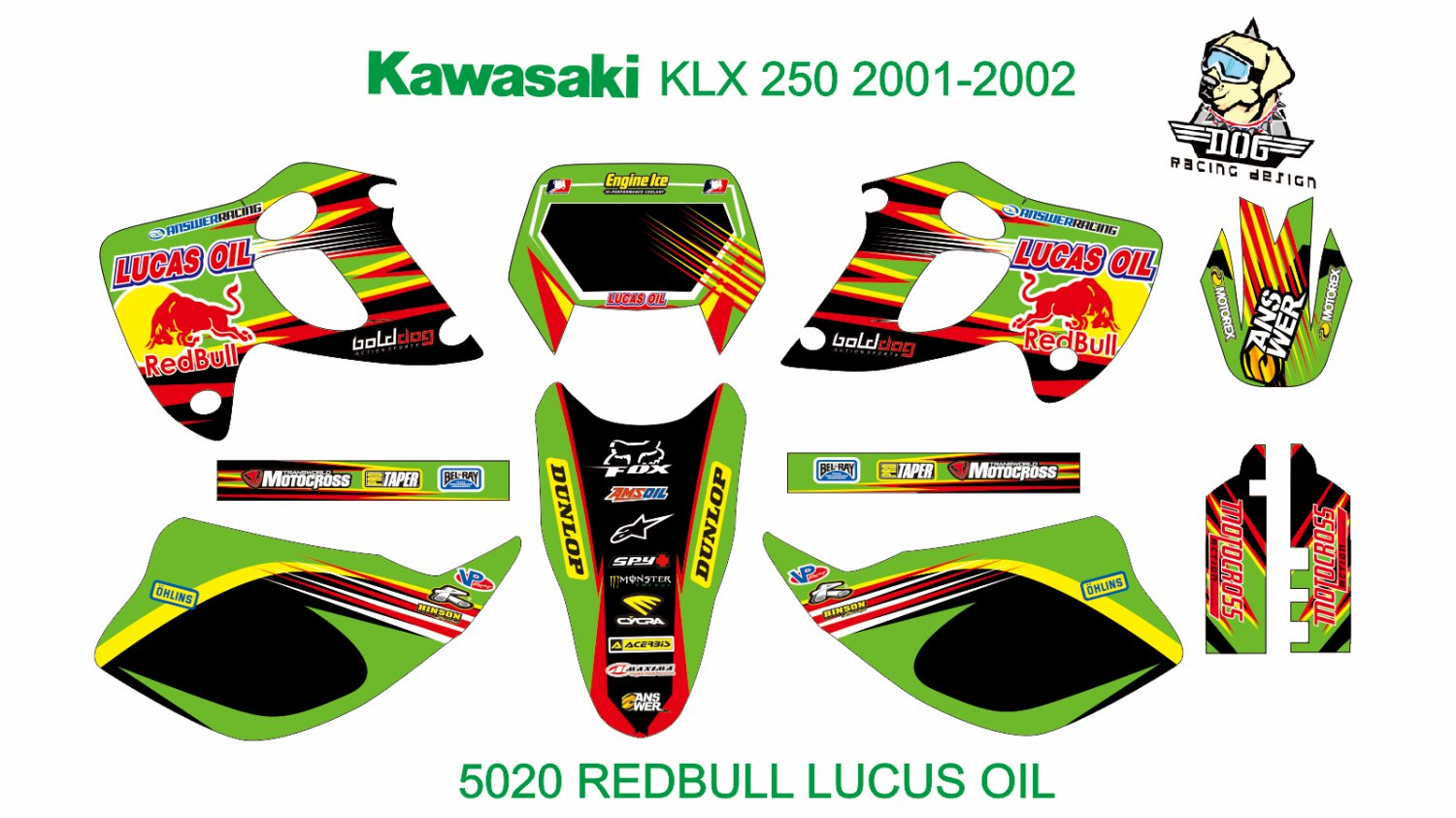 KAWASAKI KLX 250 2001-2002 GRAPHIC DECAL KIT CODE.5020