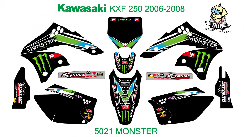 KAWASAKI KXF 250 2006-2008 GRAPHIC DECAL KIT CODE.5021