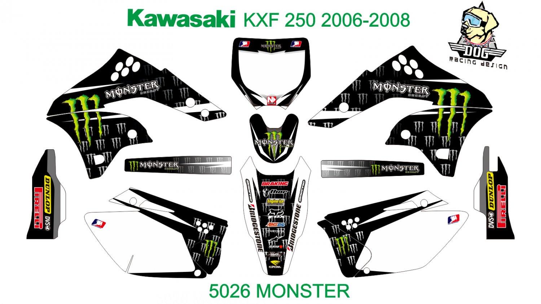 KAWASAKI KXF 250 2006-2008 GRAPHIC DECAL KIT CODE.5026