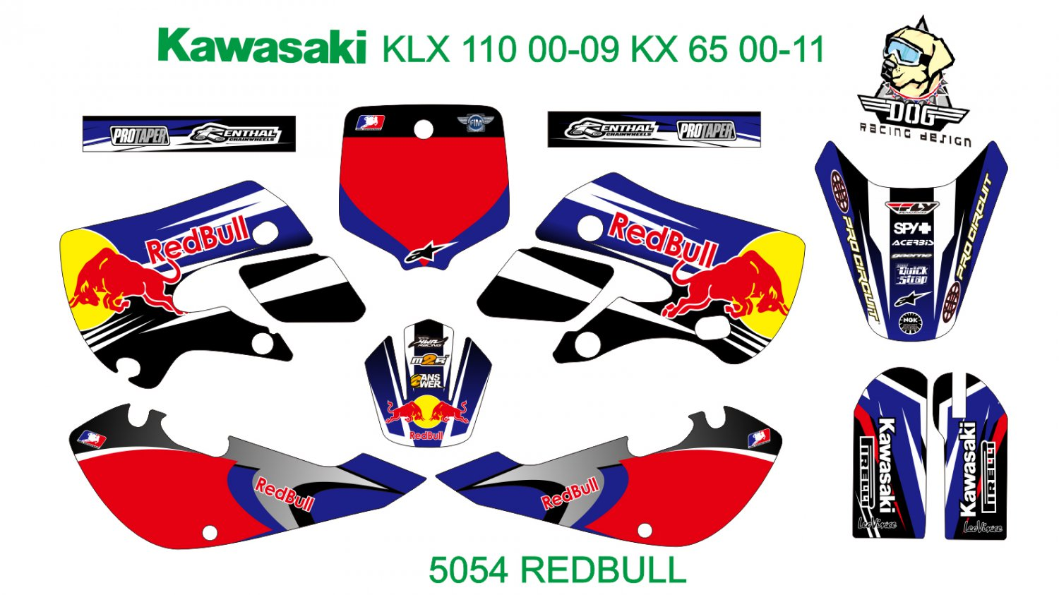KAWASAKI KLX 110 2000-2009 KX 65 2000-2011 GRAPHIC DECAL KIT CODE.5054