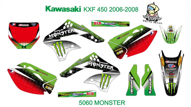 KAWASAKI KXF 450 2006-2008 GRAPHIC DECAL KIT CODE.5060