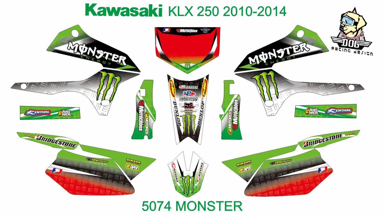 KAWASAKI KLX 250 2010-2014 GRAPHIC DECAL KIT CODE.5074