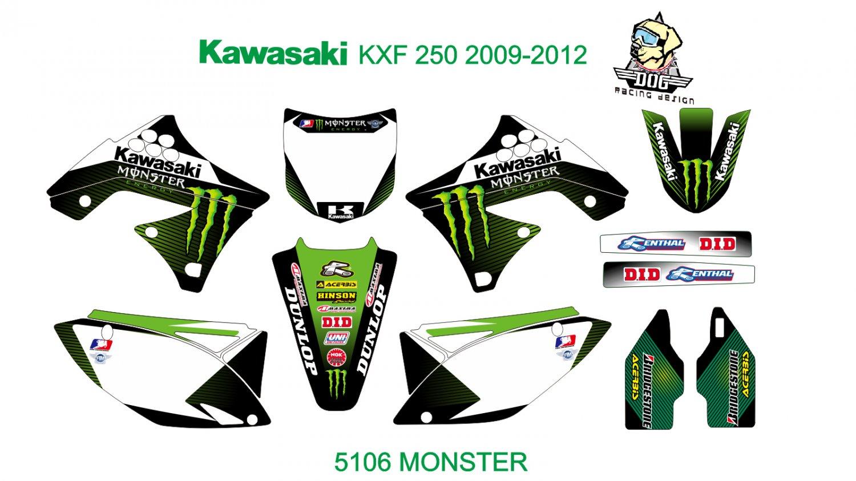 KAWASAKI KXF 250 2009-2012 GRAPHIC DECAL KIT CODE.5106