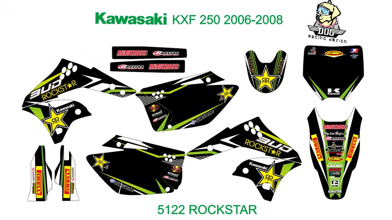 KAWASAKI KXF 250 2006-2008 GRAPHIC DECAL KIT CODE.5122