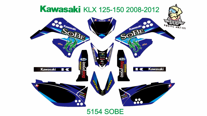 KAWASAKI KLX 125-150 2008-2012 GRAPHIC DECAL KIT CODE.5154
