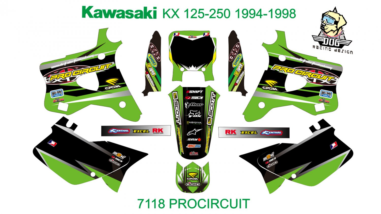 KAWASAKI KX 125-250 1994-1998 GRAPHIC DECAL KIT CODE.7118