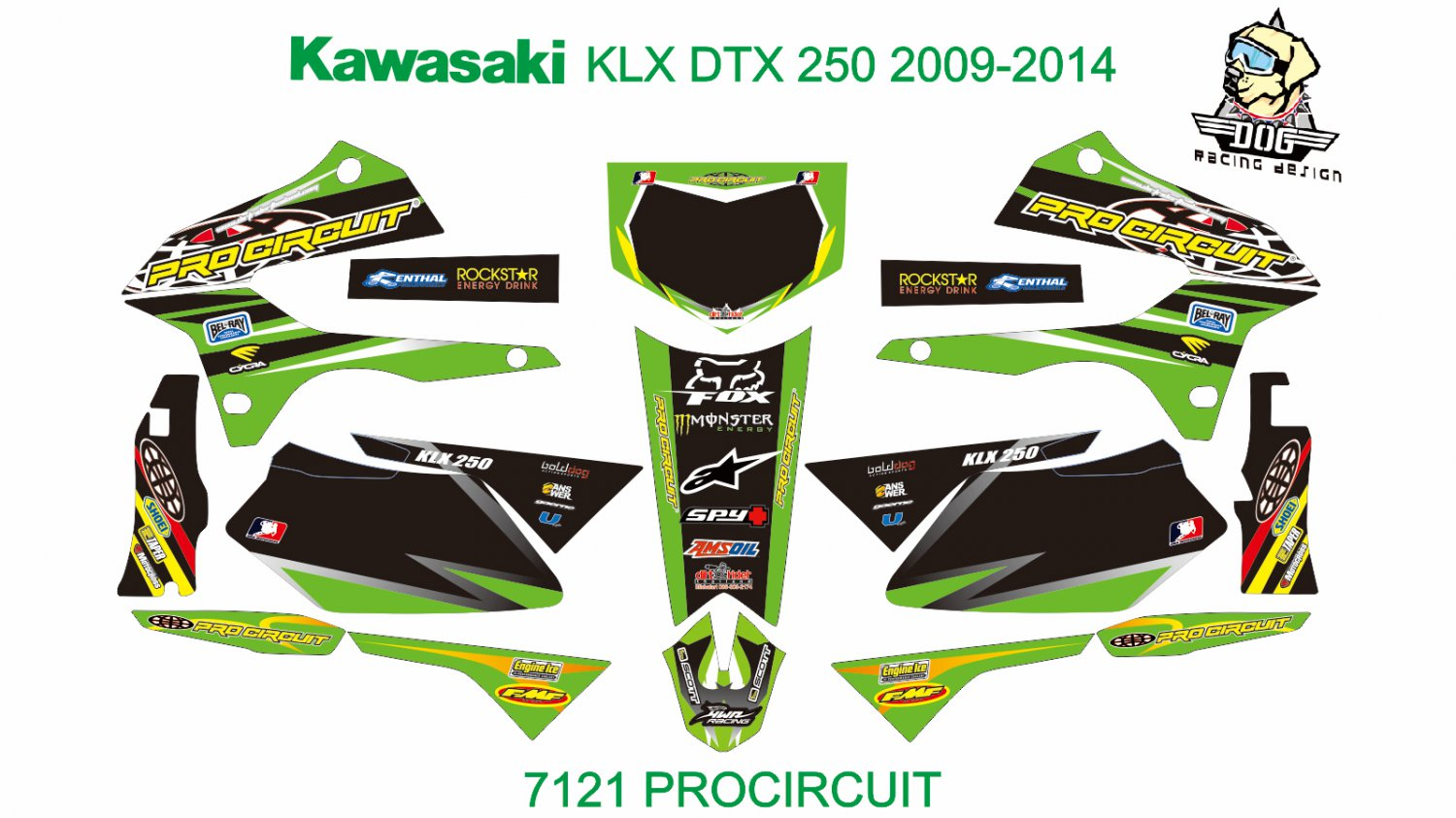 KAWASAKI KLX DTX 250 2009-2014 GRAPHIC DECAL KIT CODE.7121