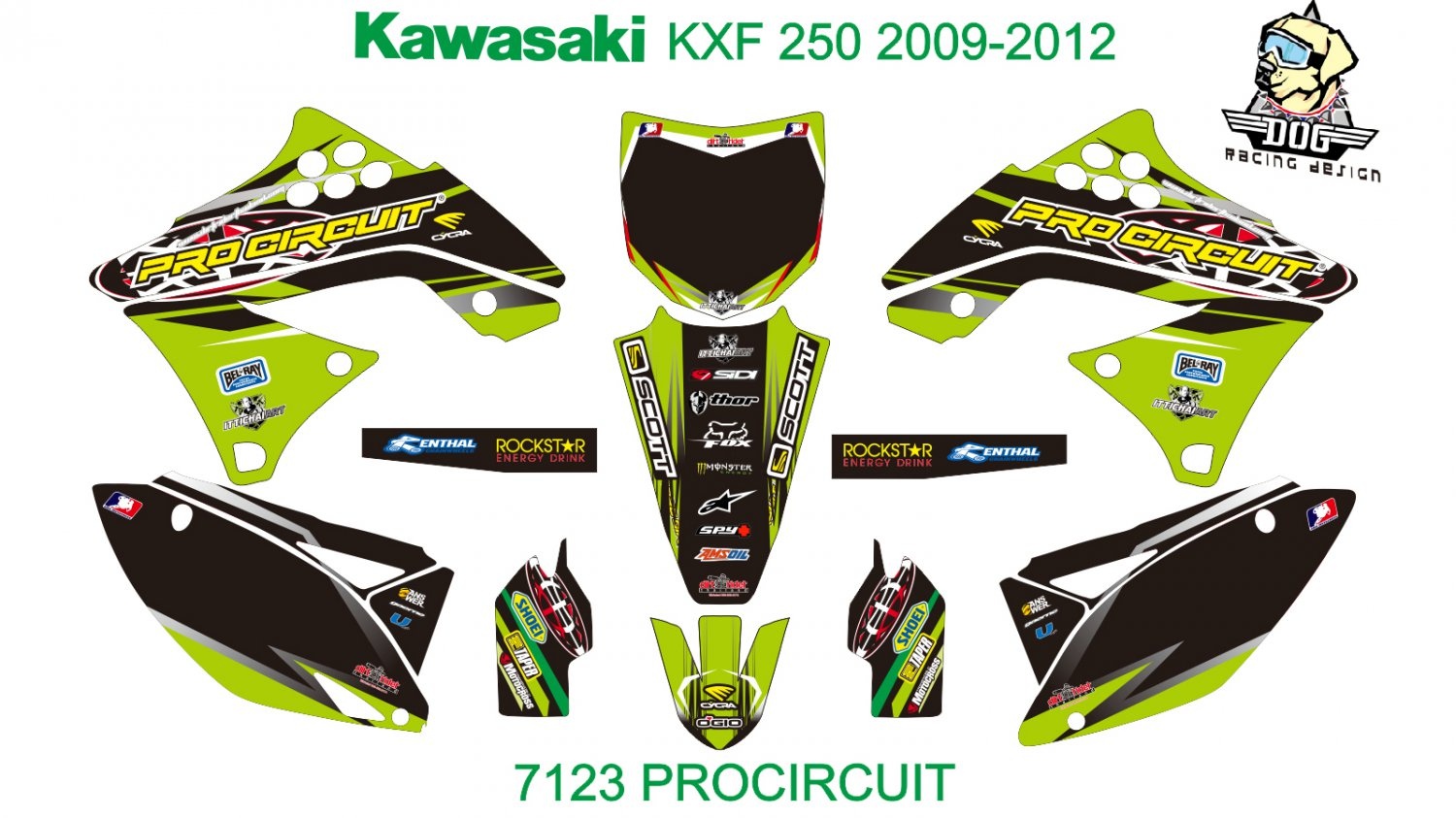 KAWASAKI KXF 250 2009-2012 GRAPHIC DECAL KIT CODE.7123