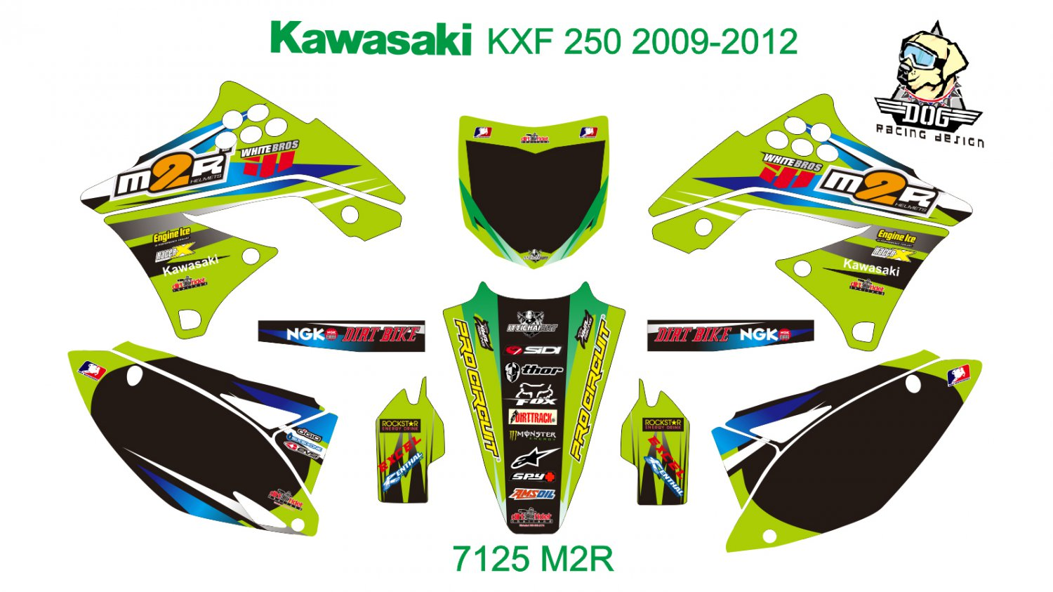 KAWASAKI KXF 250 2009-2012 GRAPHIC DECAL KIT CODE.7125