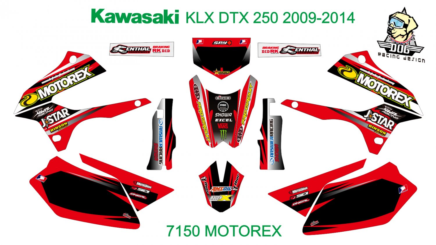 KAWASAKI KLX DTX 250 2009-2014 GRAPHIC DECAL KIT CODE.7150