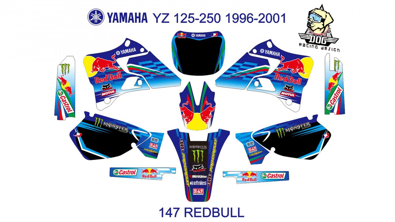 YAMAHA YZ 125-250 1996-2001 GRAPHIC DECAL KIT CODE.147