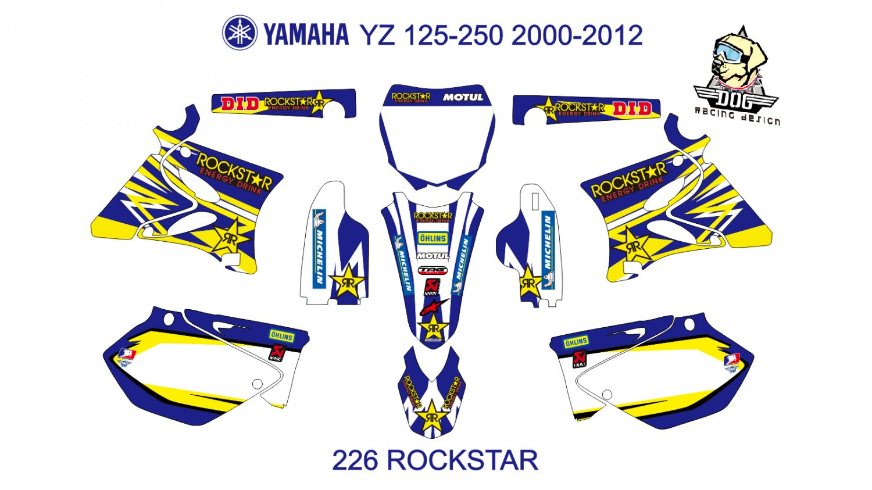 YAMAHA YZ 125-250 2000-2012 GRAPHIC DECAL KIT CODE.226