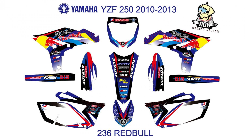 YAMAHA YZF 250 2010-2013 GRAPHIC DECAL KIT CODE.236