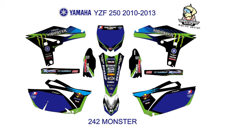 YAMAHA YZF 250 2010-2013 GRAPHIC DECAL KIT CODE.242