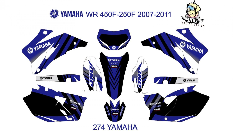 YAMAHA WR  450F-250F 2007-2011 GRAPHIC DECAL KIT CODE.274