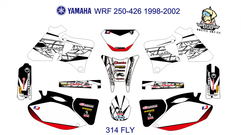 YAMAHA WRF 250-426 1998-2002 GRAPHIC DECAL KIT CODE.314