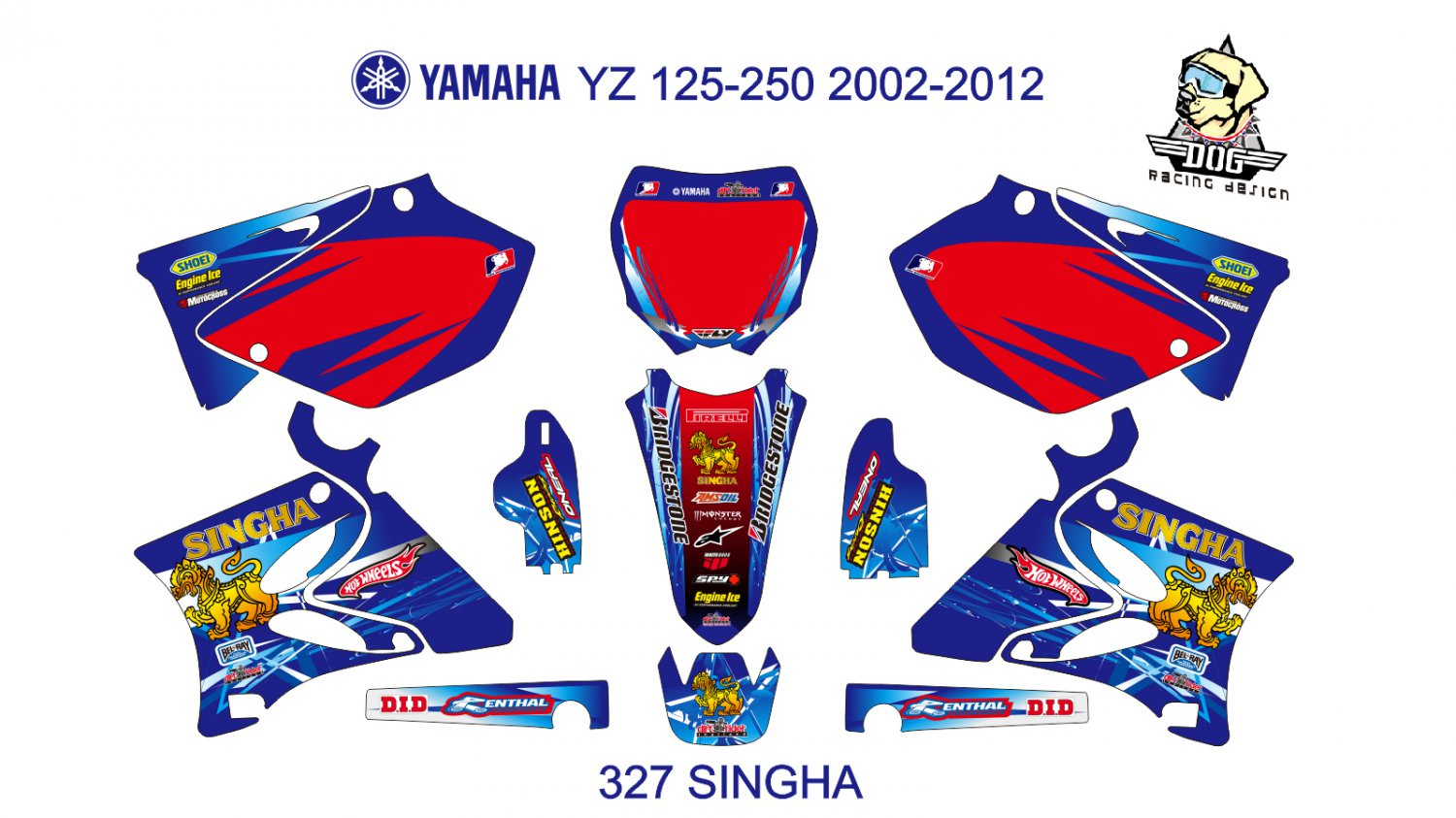 YAMAHA YZ 125-250 2002-2012 GRAPHIC DECAL KIT CODE.327