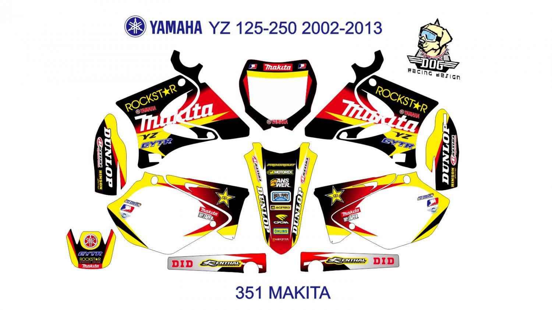 YAMAHA YZ 125-250 2002-2013 GRAPHIC DECAL KIT CODE.351