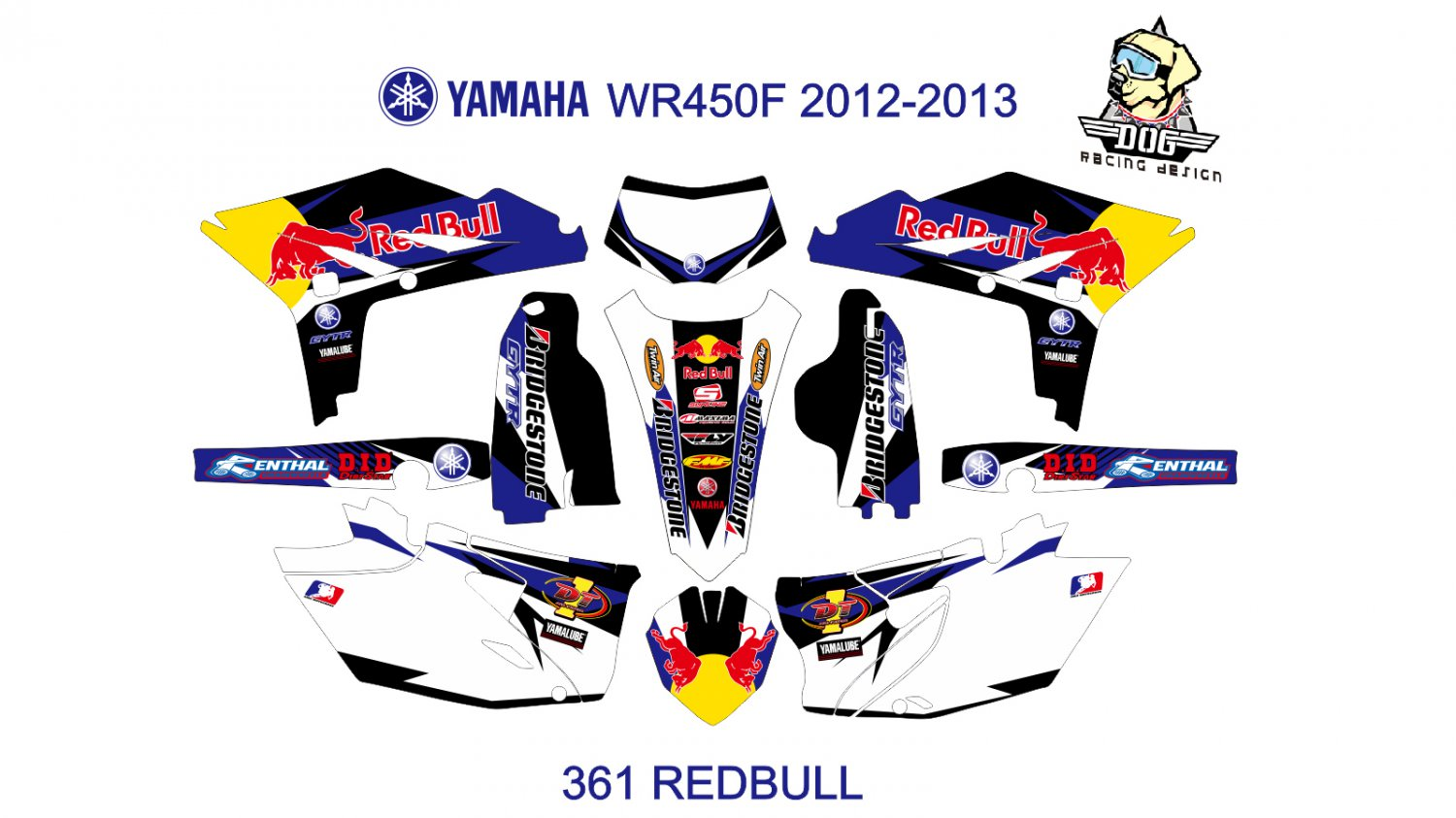 YAMAHA WRF450F 2012-2013 GRAPHIC DECAL KIT CODE.361