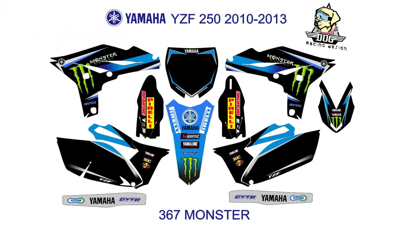 YAMAHA YZF 250 2010-2013 GRAPHIC DECAL KIT CODE.367