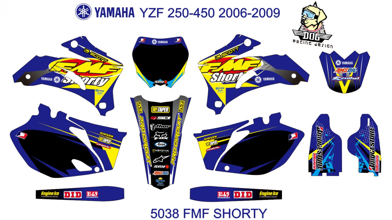 YAMAHA YZF 250-450 2006-2009 GRAPHIC DECAL KIT CODE.5038