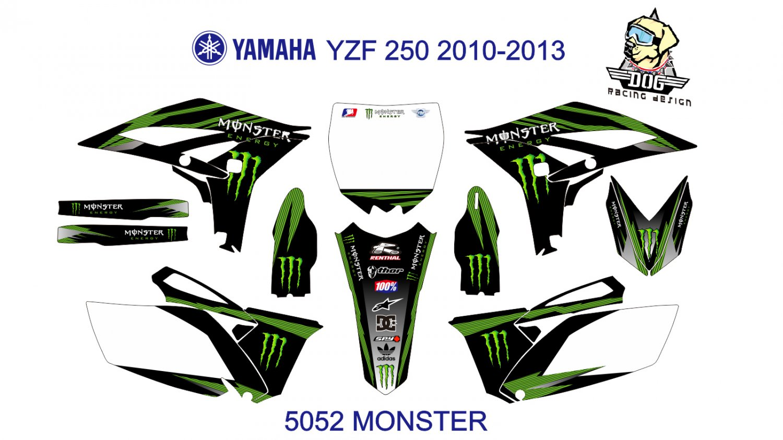YAMAHA YZF 250 2010-2013 GRAPHIC DECAL KIT CODE.5052