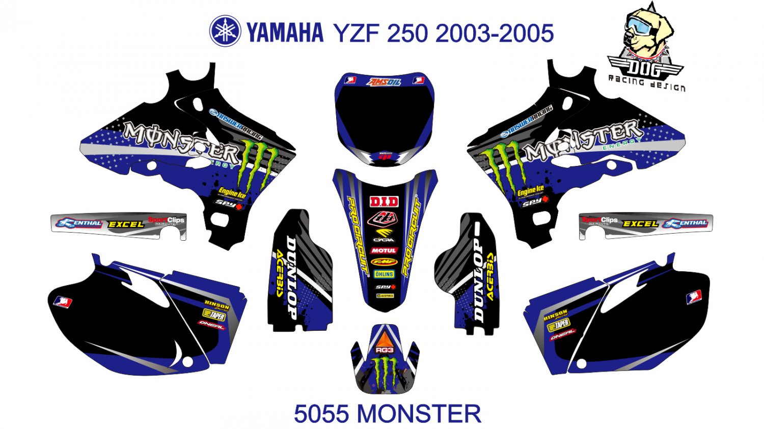 YAMAHA YZF 250 2003-2005 GRAPHIC DECAL KIT CODE.5055