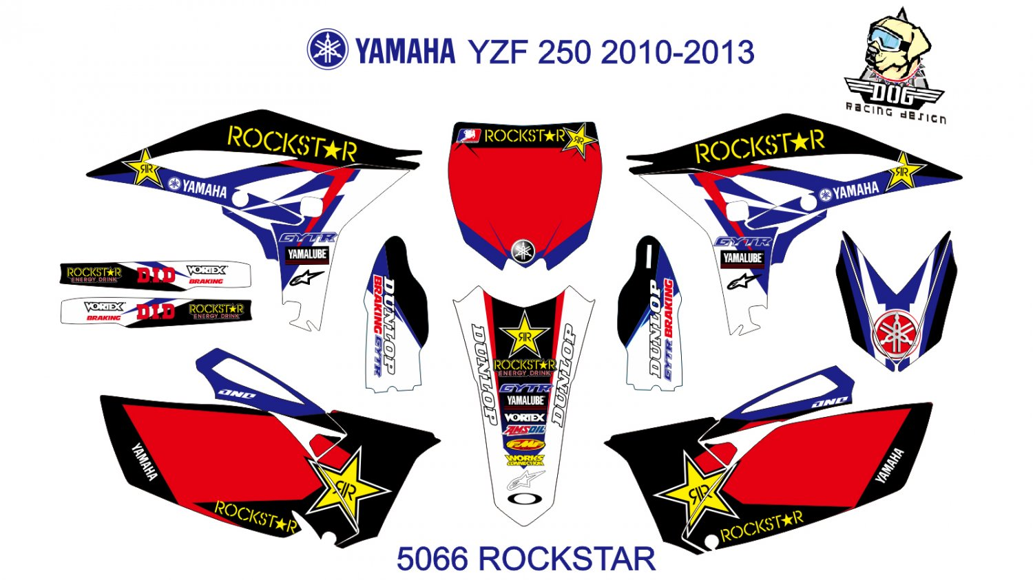 YAMAHA YZF 250 2010-2013 GRAPHIC DECAL KIT CODE.5066