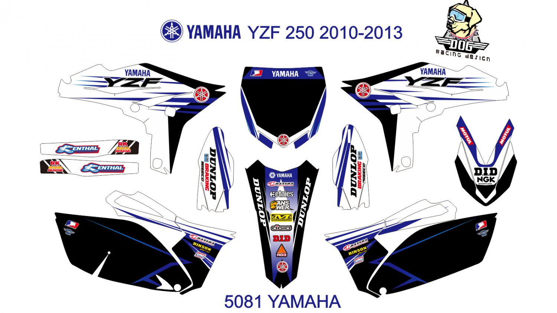 YAMAHA YZF 250 2010-2013 GRAPHIC DECAL KIT CODE.5081
