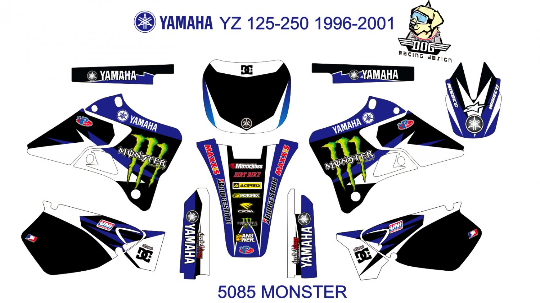 YAMAHA YZ 125-250 1996-2001 GRAPHIC DECAL KIT CODE.5085