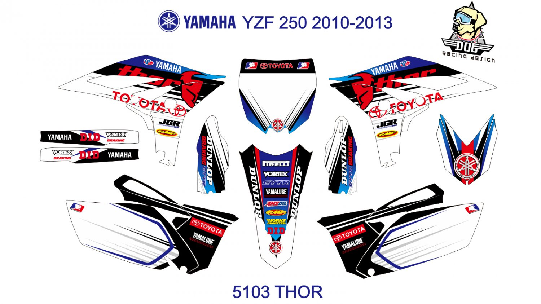 YAMAHA YZF 250 2010-2013 GRAPHIC DECAL KIT CODE.5103