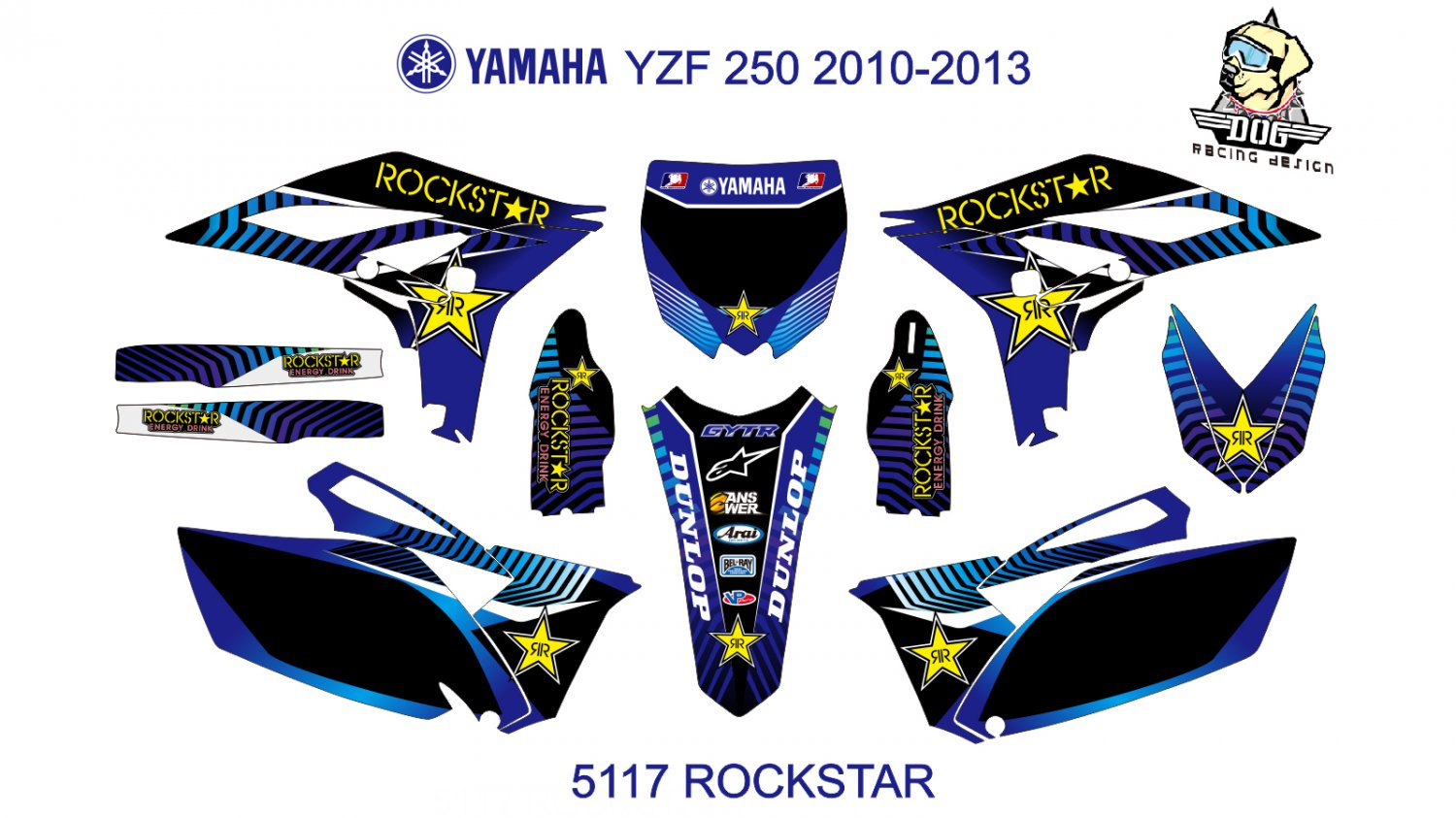 YAMAHA YZF 250 2010-2013 GRAPHIC DECAL KIT CODE.5117