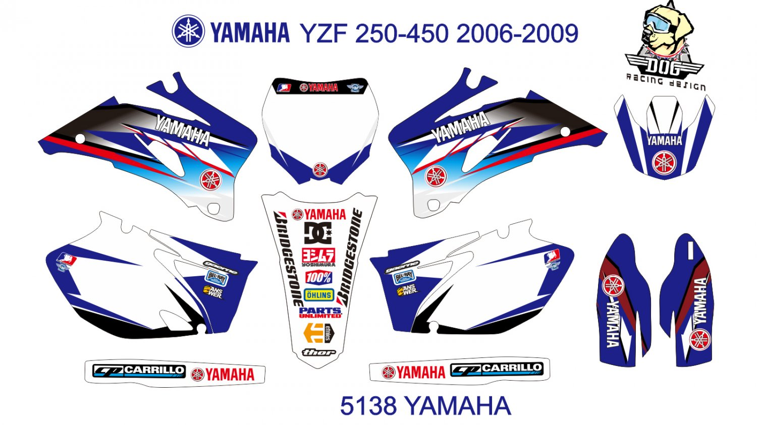 YAMAHA YZF 250-450 2006-2009 GRAPHIC DECAL KIT CODE.5138
