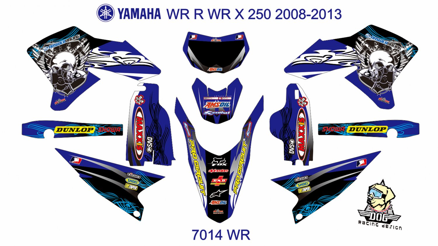 YAMAHA WR R WR X 250 2008-2013 GRAPHIC DECAL KIT CODE.7014