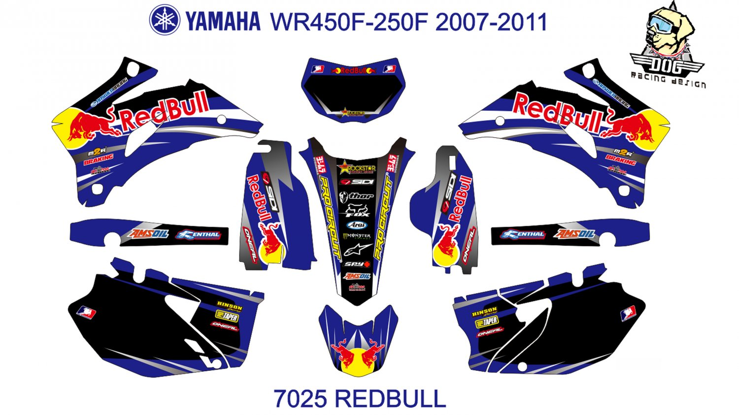 YAMAHA WR450F-250F 2007-2011 GRAPHIC DECAL KIT CODE.7025