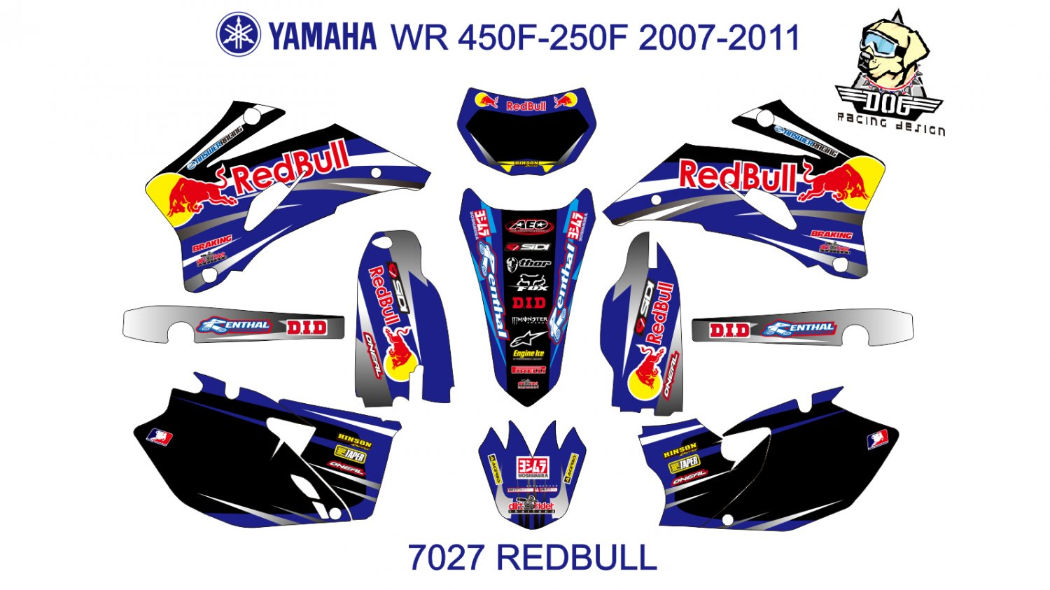 YAMAHA WR450F-250F 2007-2011 GRAPHIC DECAL KIT CODE.7027