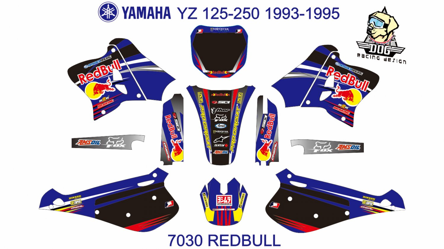 YAMAHA YZ 125-250 1993-1995 GRAPHIC DECAL KIT CODE.7030