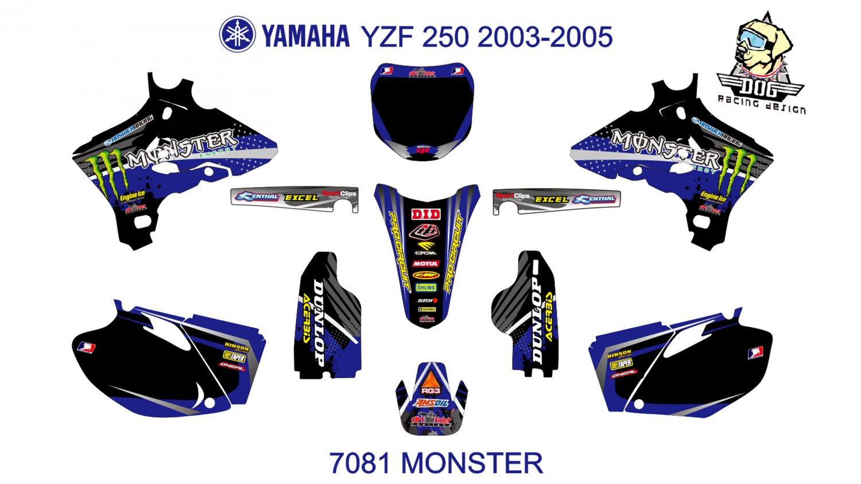 YAMAHA YZF 250 2003-2005 GRAPHIC DECAL KIT CODE.7081